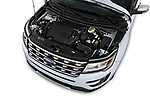 Car Stock 2017 Ford Explorer Limited 5 Door SUV Engine  high angle detail view