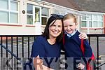 Karen McKenna drops her son off Tom to Castledrum NS on Wednesday