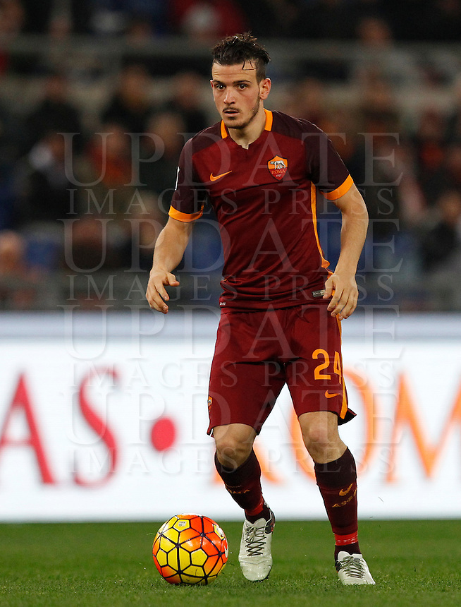 Calcio, Serie A: Roma vs Milan. Roma, stadio Olimpico, 9 gennaio 2016.<br /> Roma's Alessandro Florenzi in action during the Italian Serie A football match between Roma and Milan at Rome's Olympic stadium, 9 January 2016.<br /> UPDATE IMAGES PRESS/Riccardo De Luca