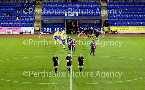 St Johnstone v Dundee United…10.11.20   McDiarmid Park      BetFred Cup<br />Wreaths were laid and a minutes silence was observed for Remembrance Day<br />Picture by Graeme Hart.<br />Copyright Perthshire Picture Agency<br />Tel: 01738 623350  Mobile: 07990 594431