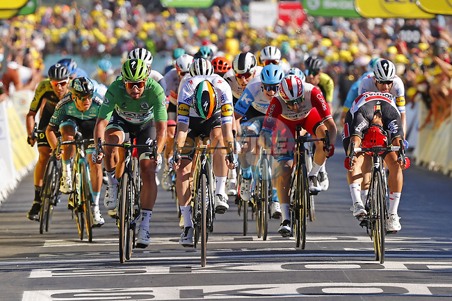 Irish Champion Sam Bennett (IRL) Deceuninck-Quick Step outsprints Caleb Ewan (AUS) Lotto-Soudal and Green Jersey Peter Sagan (SVK) Bora-Hansgrohe to win Stage 10 of Tour de France 2020, his maiden victory in the Tour, running 168.5km from Ile d'Oléron to Ile de Ré, France. 8th September 2020.<br /> Picture: Bora-Hansgrohe/BettiniPhoto | Cyclefile<br /> All photos usage must carry mandatory copyright credit (© Cyclefile | Bora-Hansgrohe/BettiniPhoto)