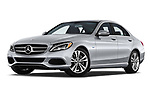 Stock pictures of low aggressive front three quarter view of a 2017 Mercedes Benz C Class C350e 4 Door Sedan