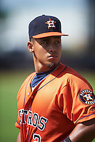 GCL Astros L.P. Pelletier (2) during warmups before the first game of a doubleheader against the GCL Mets on August 5, 2016 at Osceola County Stadium Complex in Kissimmee, Florida.  GCL Astros defeated the GCL Mets 4-1 in the continuation of a game started on July 21st and postponed due to inclement weather.  (Mike Janes/Four Seam Images)