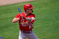 St. Louis Cardinals Tyler O'Neill (27) bats during a Major League Spring Training game against the New York Mets on March 19, 2021 at Clover Park in St. Lucie, Florida.  (Mike Janes/Four Seam Images)