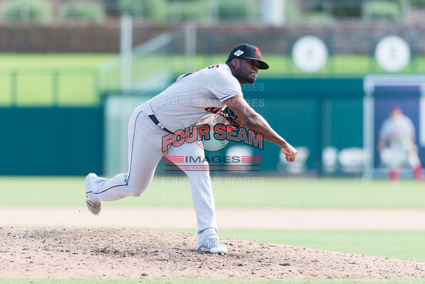 Scottsdale Scorpions relief pitcher Erasmo Pinales (47), of the Houston Astros organization, follows through on his delivery during an Arizona Fall League game against the Glendale Desert Dogs at Camelback Ranch on October 16, 2018 in Glendale, Arizona. Scottsdale defeated Glendale 6-1. (Zachary Lucy/Four Seam Images)