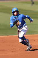 Kevin Kendall (4) of the UCLA Bruins  during a game against the Cal State Fullerton Titans at Jackie Robinson Stadium on March 6, 2021 in Los Angeles, California. UCLA defeated Cal State Fullerton, 6-1. (Larry Goren/Four Seam Images)