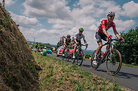 Marcel Sieberg (DEU/Lotto-Soudal), Mark Renshaw (AUS/Dimension Data) & Dylan Groenewegen (NED/LottoNL-Jumbo) dropped up the 3rd climb of the day<br /> <br /> Stage 5: Lorient > Quimper (203km)<br /> <br /> 105th Tour de France 2018<br /> ©kramon