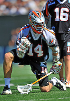 24 August 2008: Denver Outlaws' Midfielder Drew Westervelt celebrates scoring Denver's 5th goal in the second quarter against the Rochester Rattlers during the Championship Game of the Major League Lacrosse Championship Weekend at Harvard Stadium in Boston, MA. The Rattles took control of the second half to defeat the Outlaws 16-6 and take the league honor for the 2008 season...Mandatory Photo Credit: Ed Wolfstein Photo