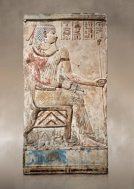 Ancient Egyptian stele of Piamon who drowned in the Nile and was deified like Osiris, Ptlomemaic Period (332-30 BC),  Egyptian Museum, Turin.  Old Fund cat 1556.