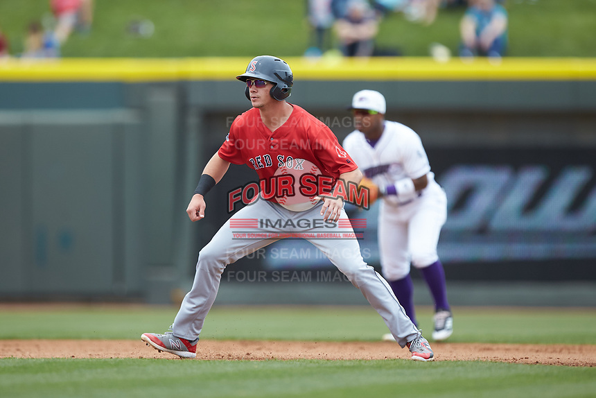 Bobby Dalbec (29) of the Salem Red Sox takes his lead off of second base against the Winston-Salem Dash at BB&T Ballpark on April 22, 2018 in Winston-Salem, North Carolina.  The Red Sox defeated the Dash 6-4 in 10 innings.  (Brian Westerholt/Four Seam Images)