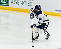 WORCESTER, MA - JANUARY 16: Allison Attea #14 of Holy Cross looks to pass during a game between Boston College and Holy Cross at Hart Center Rink on January 16, 2021 in Worcester, Massachusetts.