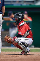 Batavia Muckdogs catcher Pablo Garcia (4) during a game against the Lowell Spinners on July 15, 2018 at Dwyer Stadium in Batavia, New York.  Lowell defeated Batavia 6-2.  (Mike Janes/Four Seam Images)