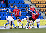 St Johnstone v Clyde…17.04.21   McDiarmid Park   Scottish Cup<br />David Wotherspoon fends off Marky Munro<br />Picture by Graeme Hart.<br />Copyright Perthshire Picture Agency<br />Tel: 01738 623350  Mobile: 07990 594431