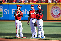 Bryce Harper, Max Scherzer, and Anthony Rizzo during practice before the MLB All-Star Game on July 14, 2015 at Great American Ball Park in Cincinnati, Ohio.  (Mike Janes/Four Seam Images)