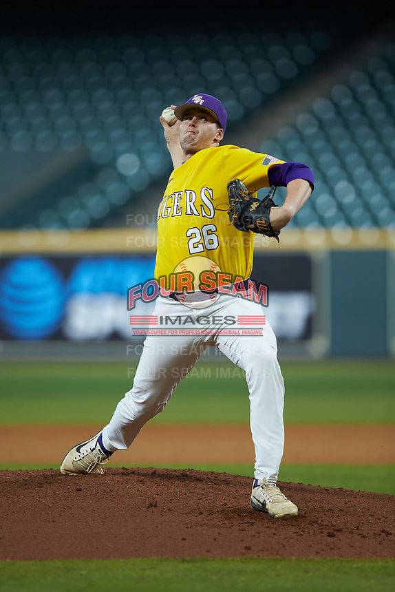 LSU Tigers starting pitcher AJ Labas (26) in action against the Oklahoma Sooners in game seven of the 2020 Shriners Hospitals for Children College Classic at Minute Maid Park on March 1, 2020 in Houston, Texas. The Sooners defeated the Tigers 1-0. (Brian Westerholt/Four Seam Images)