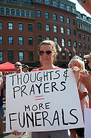 Carolyn Gagnon of Sterling MA at a Moms Demand Action for Gun Sense in America recess rally to urge Congress to vote on Senate Bill 42 to implement background checks and red flag laws, and call for an assault weapons ban at Boston City Hall Plaza Boston MA 8.18.19
