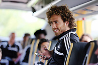 Wednesday 07 August 2013<br /> Pictured: Jose Canas, on the bus en route to Cardiff Airport.  <br /> Re: Swansea City FC travelling to Sweden for their Europa League 3rd Qualifying Round, Second Leg game against Malmo.