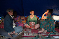 People living in a temporary shelter as their houses were damaged at Bhaktapur, near Kathmandu, Nepal. May 03, 2015