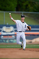 Connecticut Tigers third baseman Cam Warner (44) throws to first base during a game against the Lowell Spinners on August 26, 2018 at Dodd Stadium in Norwich, Connecticut.  Connecticut defeated Lowell 11-3.  (Mike Janes/Four Seam Images)