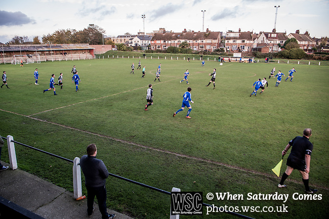 Harwich & Parkeston 2 Barnston 0, 11/11/2017. Royal Oak Ground, Andreas Carter Essex & Suffolk Border League Premier Division. Harwich & Parkeston reached the final of the Amateur Cup in 1953 at Wembley Stadium and played in front of a crowd of 100,000. <br /> A general view of the action from the main stand. Photo by Simon Gill.