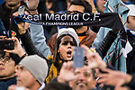 Real Madrid fans show their support to their team prior to the UEFA Champions League 2017-18 Round of 16 (1st leg) match between Real Madrid vs Paris Saint Germain at Estadio Santiago Bernabeu on February 14 2018 in Madrid, Spain. Photo by Diego Souto / Power Sport Images