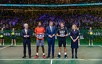 Rotterdam, The Netherlands, 17 Februari 2019, ABNAMRO World Tennis Tournament, Ahoy,  award ceremony, Winner Gael Monfils (FRA) and tournament director Richard Krajicek (M)  next to Krajicek runner up Stan Wawrinka (SUI) and director of Ahoy Jolanda Jansen, left CEO of the ABNAMRO Bank Kees van Dijkhuizen <br /> Photo: www.tennisimages.com/Henk Koster