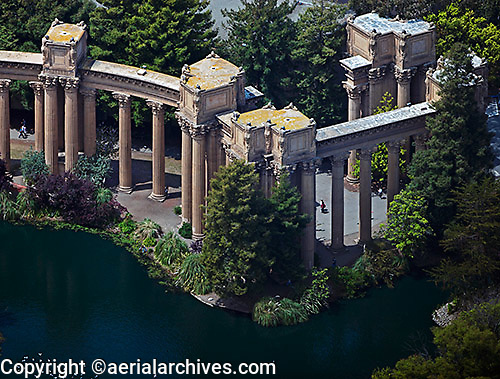 aerial photograph of the rows of Corinthian columns at the Palace of Fine Arts, San Francisco, California