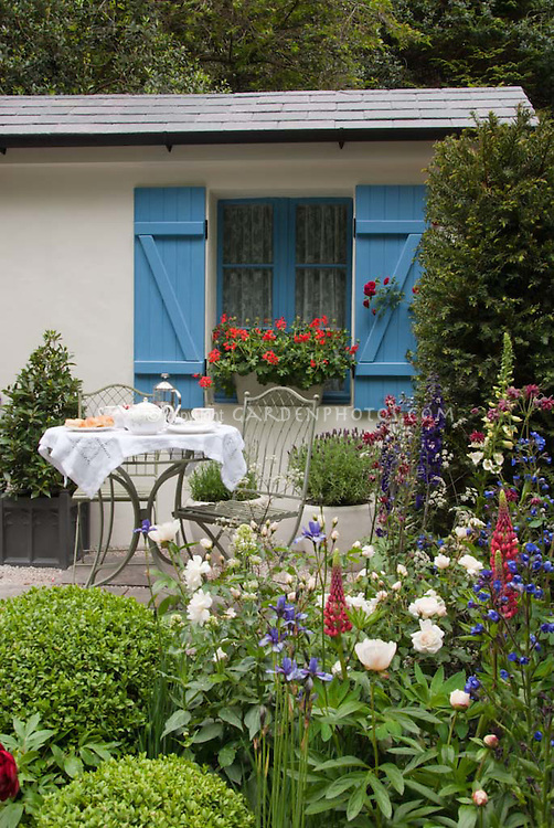 Dining Outdoors in the Garden Patio with Flowers for Wildlife, butterfly garden