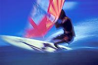 Windsurfer, blurred action shot, Hawaii