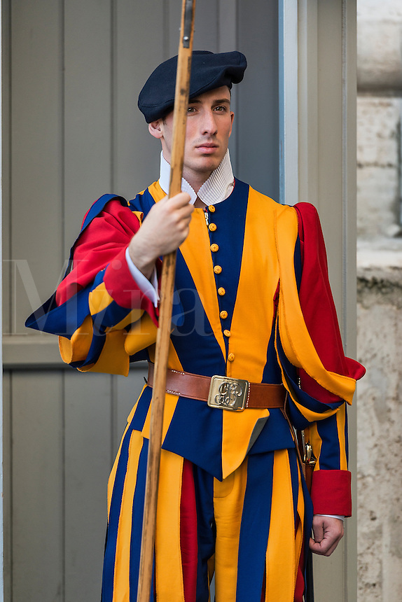 Pontifical Swiss Guard stands at attention.