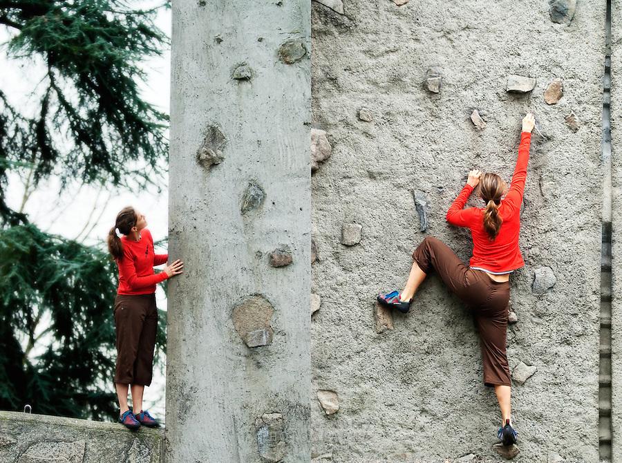 Rock Climbing on the practice wall at The University of Washington Campus, Seattle, WA.
