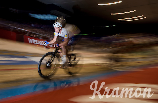"""King of """" 't Kuipke"""" ; Iljo Keisse (BEL/Etixx-QuickStep) during the madison<br /> <br /> 2016 Gent 6<br /> day 5"""