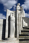 Art Deco Staues in fountain at entrance to Hollywood Bowl