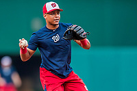 15 August 2017: Washington Nationals infielder Wilmer Difo fields practice grounders prior to a game against the Los Angeles Angels at Nationals Park in Washington, DC. The Nationals defeated the Angels 3-1 in the first game of their 2-game series. Mandatory Credit: Ed Wolfstein Photo *** RAW (NEF) Image File Available ***