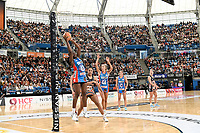 6th June 2021; Ken Rosewall Arena, Sydney, New South Wales, Australia; Australian Suncorp Super Netball, New South Wales, NSW Swifts versus Giants Netball; Samantha Wallace of NSW Swifts catches the ball under the goal