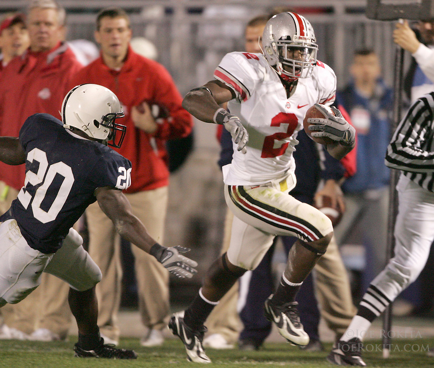 State College, PA -- 10/27/2007 -- Ohio State cornerback Malcolm Jenkins evades the reach of Rodney Kinlaw to return an Anthony Morelli pass for a touchdown in the fourth quarter.  Ohio State defeated Penn State by a score of 37-17 on Saturday, October 27, 2007, at Beaver Stadium...Photo:  Joe Rokita / JoeRokita.com