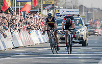 Greg Van Avermaet (BEL/BMC) beating Philippe Gilbert (BEL/Quick Step floors) on the finish line by a bikethrow<br /> <br /> 60th E3 Harelbeke (1.UWT)<br /> 1day race: Harelbeke › Harelbeke - BEL (206km)