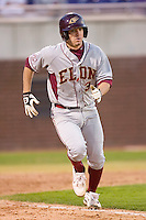 Neal Pritchard #3 of the Elon Phoenix hustles down the first base line versus the East Carolina Pirates at Clark-LeClair Stadium March 29, 2009 in Greenville, North Carolina. (Photo by Brian Westerholt / Four Seam Images)