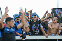 SAN JOSE, CA - AUGUST 24: Fans celebrate during a Major League Soccer (MLS) match between the San Jose Earthquakes and the Vancouver Whitecaps FC  on August 24, 2019 at Avaya Stadium in San Jose, California.