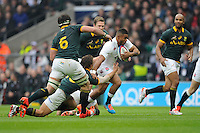 Kyle Eastmond of England breaks in midfield during the QBE International match between England and South Africa at Twickenham Stadium on Saturday 15th November 2014 (Photo by Rob Munro)