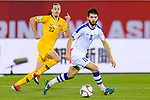 Jaloliddin Masharipov of Uzbekistan (R) fights for the ball with Jackson Irvine of Australia (L) during the AFC Asian Cup UAE 2019 Round of 16 match between Australia (AUS) and Uzbekistan (UZB) at Khalifa Bin Zayed Stadium on 21 January 2019 in Al Ain, United Arab Emirates. Photo by Marcio Rodrigo Machado / Power Sport Images