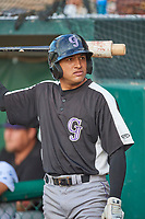 Jose Gutierrez (21) of the Grand Junction Rockies on deck during the game against the Ogden Raptors at Lindquist Field on June 5, 2021 in Ogden, Utah. The Raptors defeated the Rockies 18-1. (Stephen Smith/Four Seam Images)