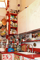 art deco kitchen with many cooking utensils