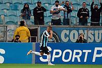 6th October 2021; Arena do Gremio, Porto Alegre, Brazil; Brazilian Serie A, Gremio versus Cuiaba; Alisson of Gremio celebrates his goal in the 52nd minute 1-1