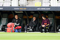 25th May 2021; Gdansk, Poland; Manchester United training at the Stadion Energa Gdańsk prior to their Europa League final versus Villarreal on May 26th;  OLE GUNNAR SOLSKJAER speaks with the injured Harry Maguire and assistant Mike Phelan