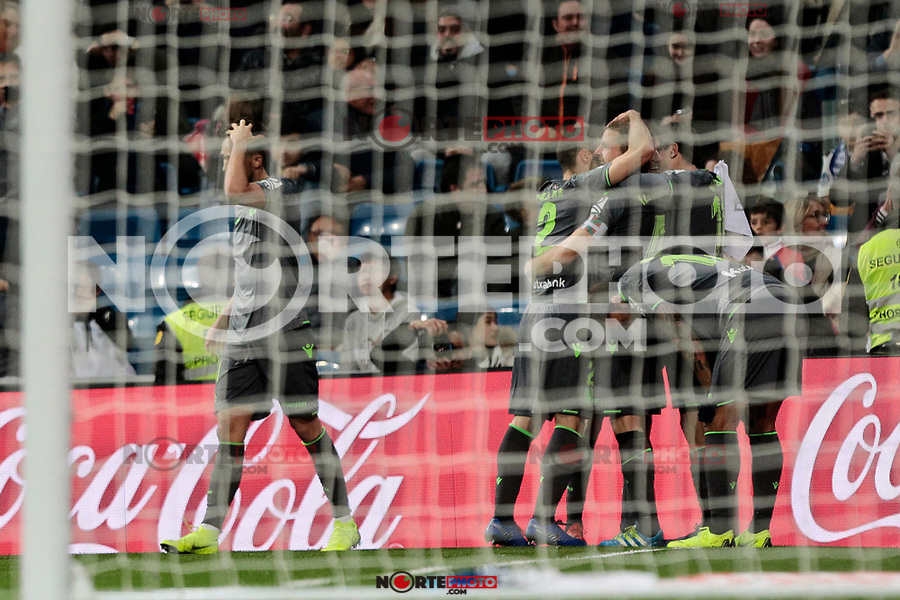 Real Sociedad's players celebrate goal during La Liga match between Real Madrid and Real Sociedad at Santiago Bernabeu Stadium in Madrid, Spain. January 06, 2019. (ALTERPHOTOS/A. Perez Meca)<br />  (ALTERPHOTOS/A. Perez Meca) /NortePhoto.com