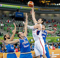 """Nenad Krstic of Serbia in action during European basketball championship """"Eurobasket 2013""""  basketball game for 7th place between Serbia and Italy in Stozice Arena in Ljubljana, Slovenia, on September 21. 2013. (credit: Pedja Milosavljevic  / thepedja@gmail.com / +381641260959)"""