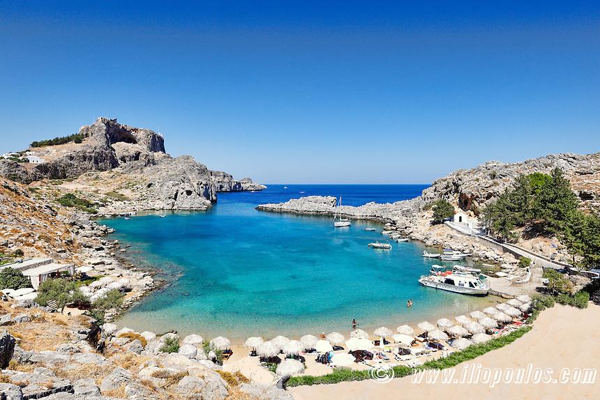 Agios Pavlos beach near the village of Lindos in Rhodes, Greece.