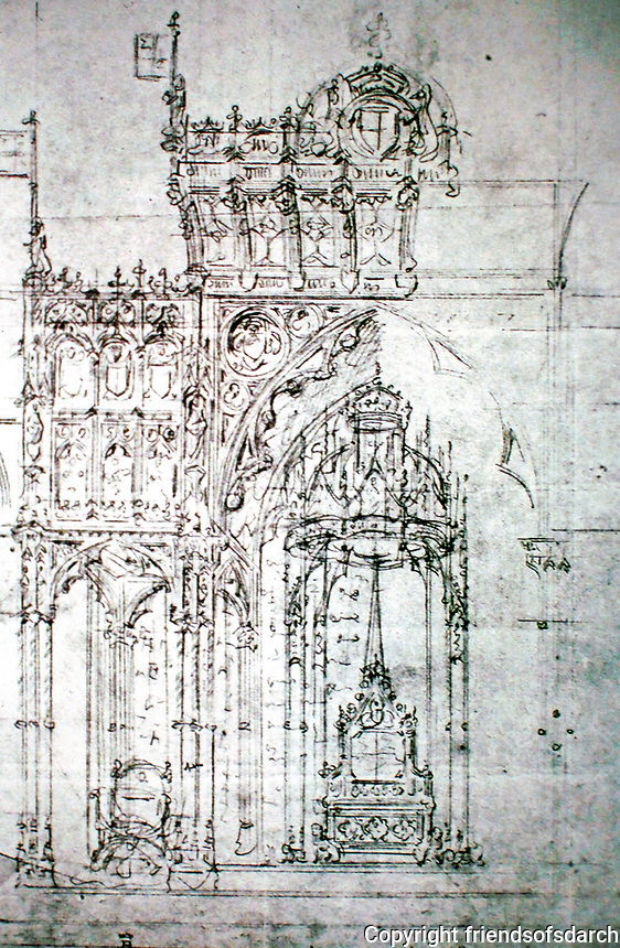 Sketch by A.W. Pugin for House of Lords, Palace of Westminster, London. Throne canopy, 1844.