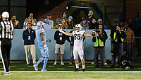 CHAPEL HILL, NC - NOVEMBER 02: Grant Misch #85 of the University of Virginia scores a touchdown during a game between University of Virginia and University of North Carolina at Kenan Memorial Stadium on November 02, 2019 in Chapel Hill, North Carolina.